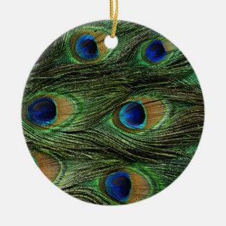 Peacock Feathers Round Ceramic Decoration