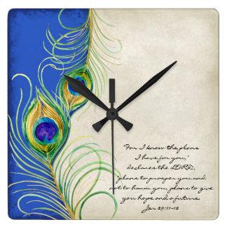Peacock Feathers Royal Damask Christian Scripture Wall Clocks