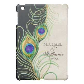 Peacock Feathers Royal Damask Personalized Names iPad Mini Covers
