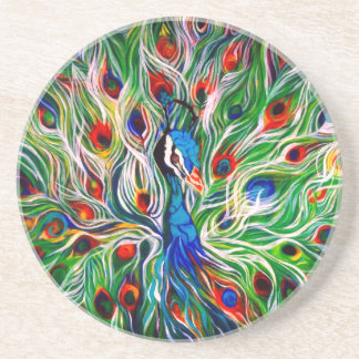 Peacock Feathers Sandstone Coasters