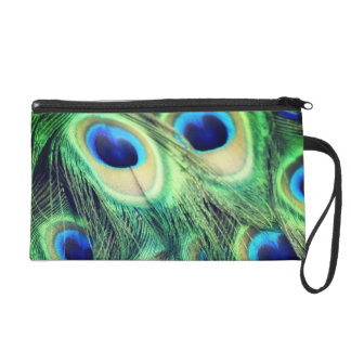 Peacock Feathers Satin Clutch Bag Wristlet