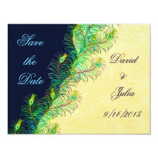 "Peacock Feathers Save the Date Invitation 4.25"" X 5.5"" Invitation Card"