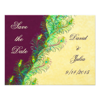 Peacock Feathers Save the Date Invitation