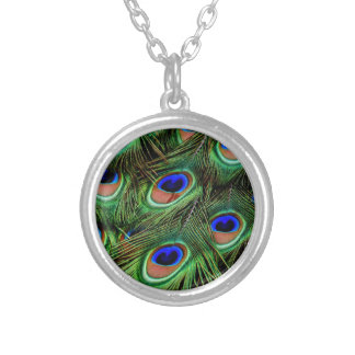 Peacock Feathers Silver Plated Necklace