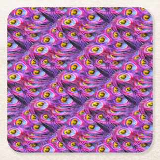 Peacock Feathers Square Paper Coaster