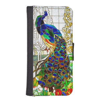 Peacock Feathers Stained Glass Window Art iPhone SE/5/5s Wallet Case