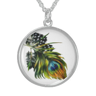 """""""Peacock Feathers"""" Sterling Silver Necklace"""