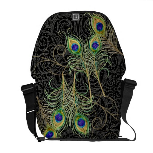 Peacock Feathers Swirl Damask Trendy Chic Pattern Commuter Bag