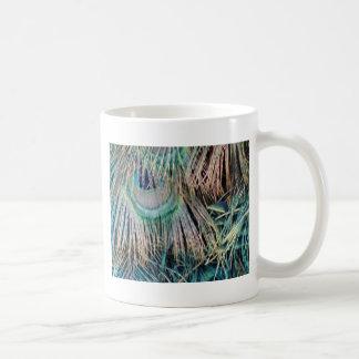 Peacock Feathers Tan Green And blue Coffee Mug