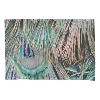 Peacock Feathers Tan Green And blue Pillowcase