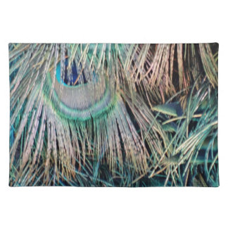 Peacock Feathers Tan Green And blue Placemats