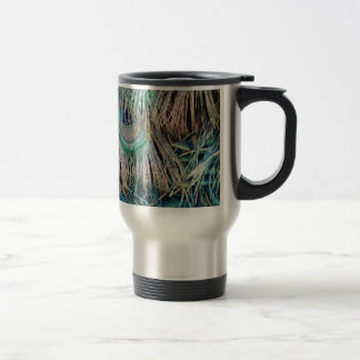Peacock Feathers Tan Green And blue Travel Mug