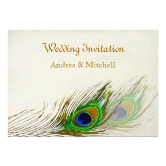 Peacock feathers Wedding Announcement