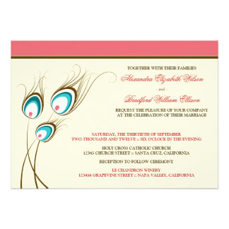 Peacock Feathers Wedding Invitation coral