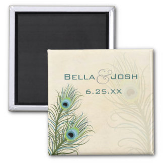 Peacock Feathers Wedding Magnet