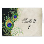 Peacock Feathers Wedding Table Tent Card