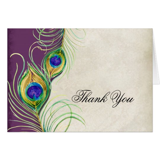 Peacock Feathers Wedding Thank You Notes