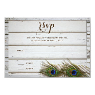 Peacock Feathers & Wood Wedding RSVP Cards
