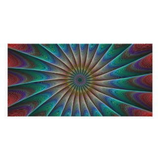 Peacock fractal personalised photo card