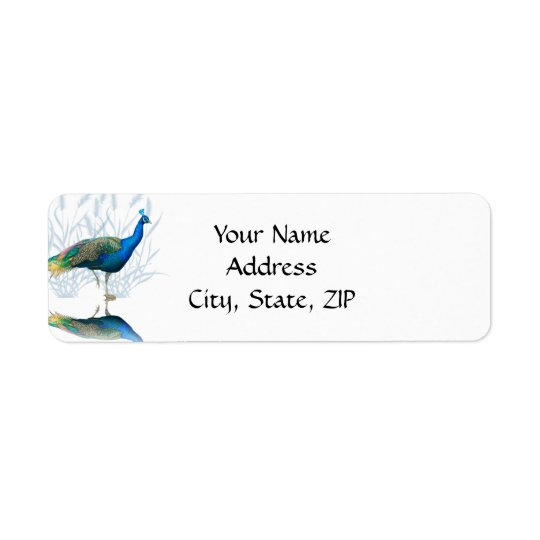 Peacock Garden in Blue and White Return Address Label