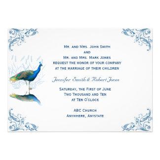 Peacock Garden in Blue White Wedding Invitation