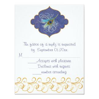 Peacock Glory RSVP insert 11 Cm X 14 Cm Invitation Card