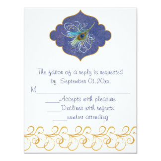 Peacock Glory RSVP insert 4.25x5.5 Paper Invitation Card