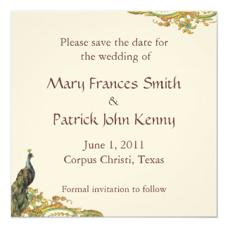 Peacock Gold Filigree Save the Date Invitation