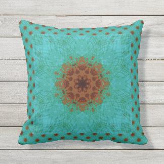 Peacock Green and Rust Graphic Floral Mandala Cushion