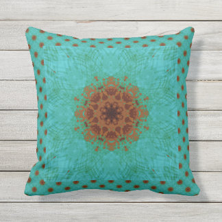 Peacock Green and Rust Graphic Floral Mandala Outdoor Cushion