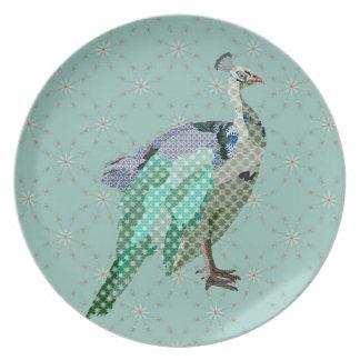 Peacock II Vintage Blue Snowflake Plate