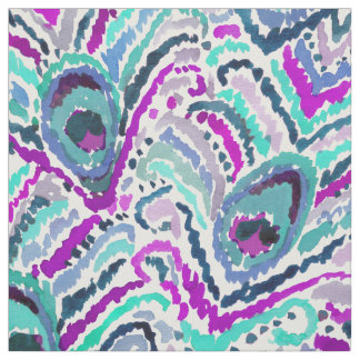 Peacock Ikat Watercolor Pattern Fabric