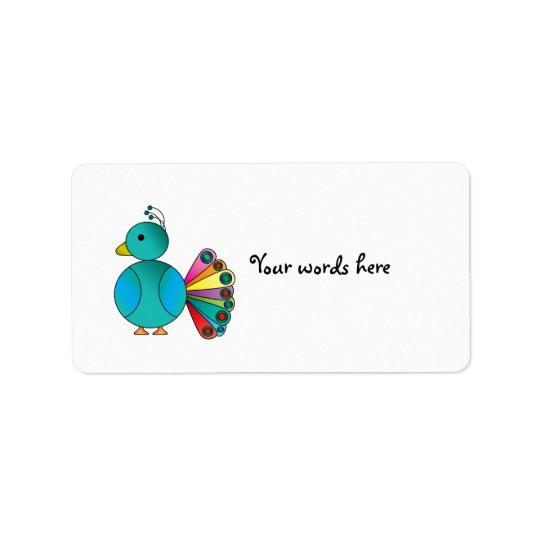 Peacock in blue address label