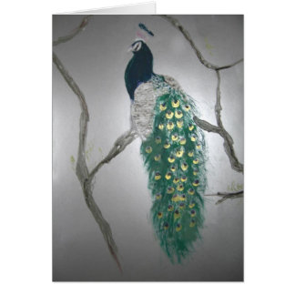 Peacock in Morning Card
