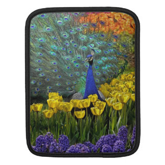 Peacock in Tulips Sleeve For iPads