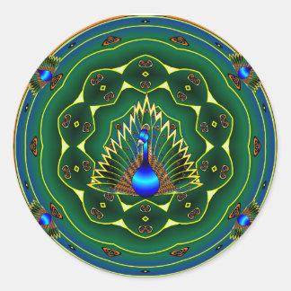 Peacock Kaleidoscope Blue- Green Background Classic Round Sticker