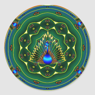 Peacock Kaleidoscope Blue- Green Background Round Sticker