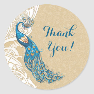 Peacock Lace Elegance 2 Thank You Wedding Stickers