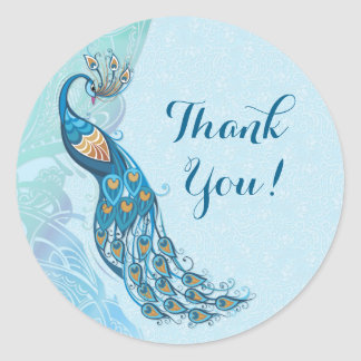 Peacock Lace Elegance Thank You Wedding Stickers