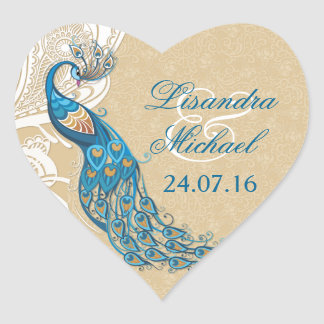 Peacock Lace Elegance Wedding Stickers