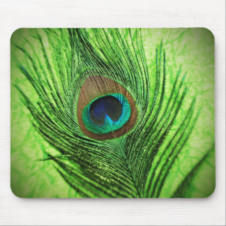 Peacock Lime Green Mouse Pad