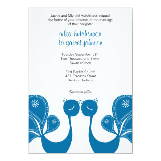 Peacock Love Wedding Invite - Ocean Breeze