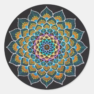 Peacock Mandala Round Sticker