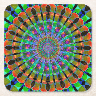 Peacock Mandala Square Paper Coaster