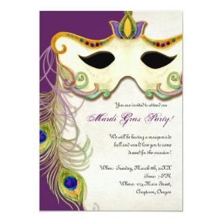 Peacock Masquerade Mask Ball - Mardi Gras Party 13 Cm X 18 Cm Invitation Card