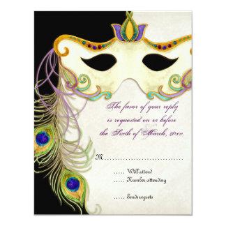 Peacock Masquerade Mask Ball - RSVP Response Card 11 Cm X 14 Cm Invitation Card