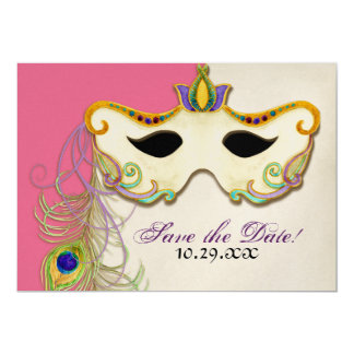 Peacock Masquerade Mask Ball - Save the Date Card 13 Cm X 18 Cm Invitation Card