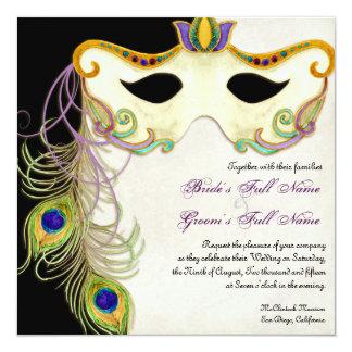 Peacock Masquerade Mask Ball - Wedding Invitation