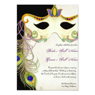 Peacock Masquerade Mask Ball - Wedding Invitation