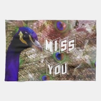 Peacock missing you hand towels